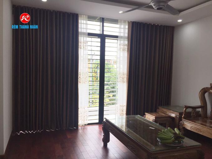 Rèm vải đẹp 2 lớp RV893-17 cản nắng 100% và von RV888-2 cho cửa đi ban công phòng khách