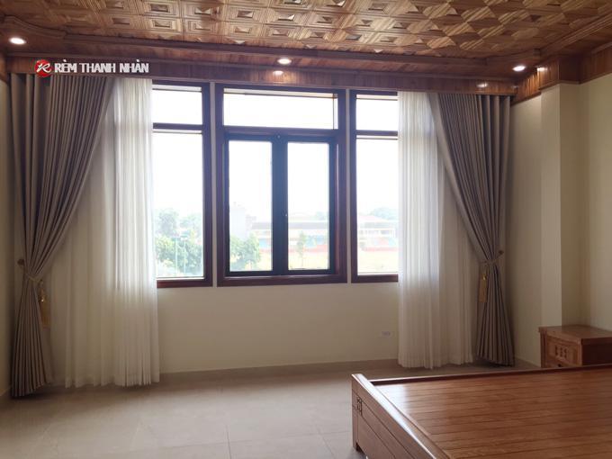 Rèm vải 2 lớp RV568-5 cản nắng và rèm von RV085-44-60 cho rèm cửa sổ phòng khách, phòng ngủ gia đình