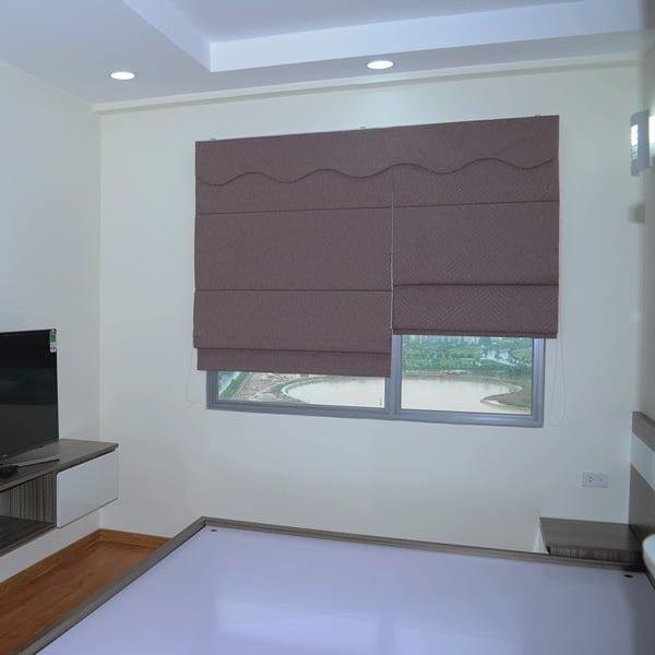 Rèm roman 2 lớp dùng kẹp dùng cho rèm phòng ngủ chung cư