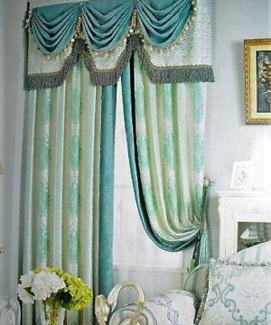 Rèm vải hoa văn họa tiết TH-1019 nền sáng họa tiết màu xanh