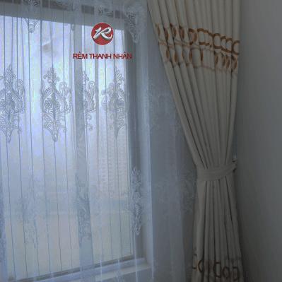 Rem vai tho cotto 2 lop - Bộ rèm vải thô cotton và rèm voan lưới thêu giá rẻ ở Hà Đông