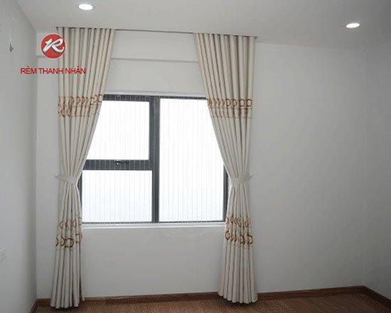 Rem vai tho cotton 1 lop - Bộ rèm vải thô cotton và rèm voan lưới thêu giá rẻ ở Hà Đông