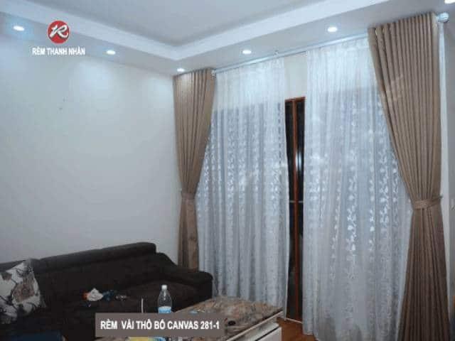 rem vai bo 2 lop phong khach - Lắp đặt rèm vải bố - Canvas 2 lớp đẹp nhất Hà Nội