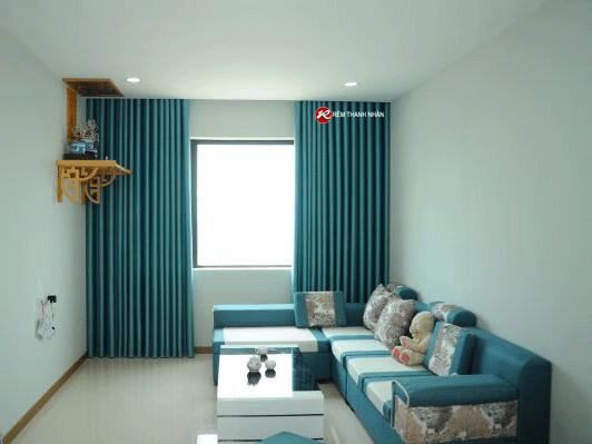mau rem vai hoa van chim cao cap mau xanh o rem thanh nhan - Mẫu rèm vải hoa văn chìm đẹp ở Hà Nội