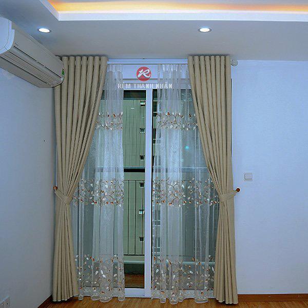 Rèm vải chống nắng 2 lớp RV278-9 và Voan RV888-2 cho phòng khách