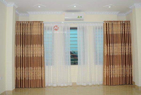 Mẫu rèm cửa phòng ngủ giá rẻ Hà Đông - Rèm vải hoa văn họa tiết