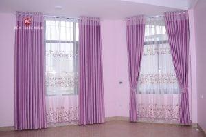 Rèm vải 2 lớp đẹp rèm vải thô hoa văn chìm, rèm voan thêu Hà Nội