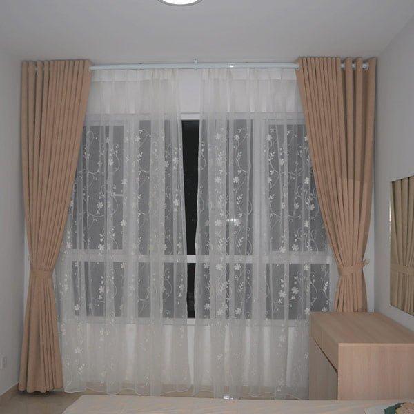Rèm voan đẹp khi thiết kế rèm vải 2 lớp cho rèm phòng ngủ