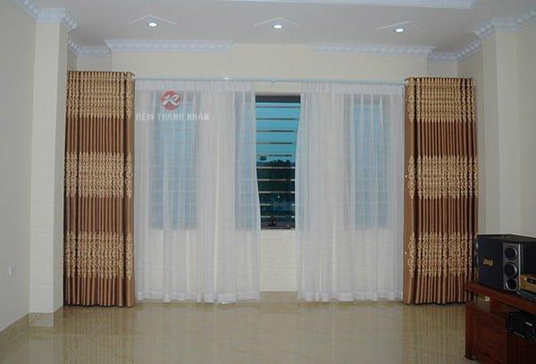 Mẫu rèm cửa phòng khách Hà Nội - Rèm vải hoa văn họa tiết 2 lớp Hà Đông