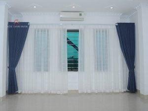 Mẫu rèm cửa phòng khách Hà Nội - Rèm vải một màu 2 lớp