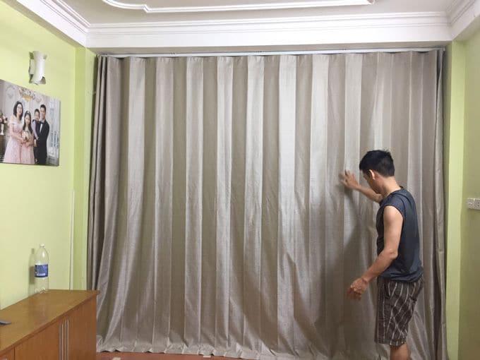 Rèm vải cách nhiệt ngăn phòng khách