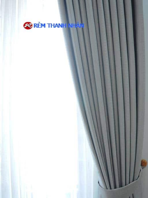 Rèm vải chống nắng một màu 2 lớp