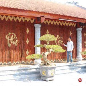 Rèm cửa gỗ hạt tròn che phong thủy Nhàn Thờ