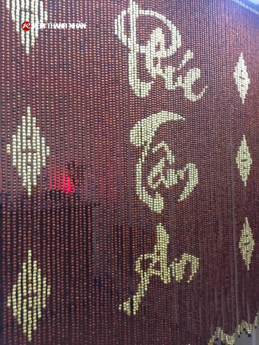 Mành hạt gỗ chữ Phúc-Tâm-An