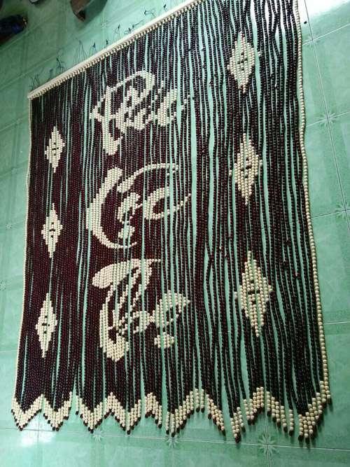 Mành hạt gỗ Bồ Đề chữ thư pháp Phúc - Lộc - Thọ và họa tiết 6 quả trám, Trên sóng, dưới sóng