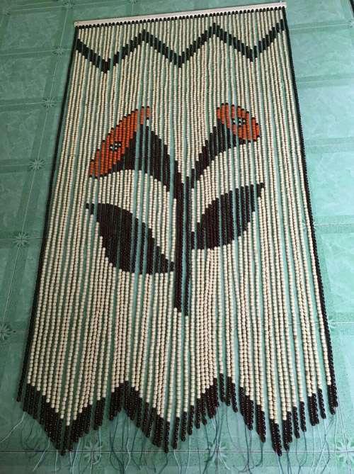 Rèm hạt gỗ Bồ Đề hoa Loa Kèn thân màu xanh