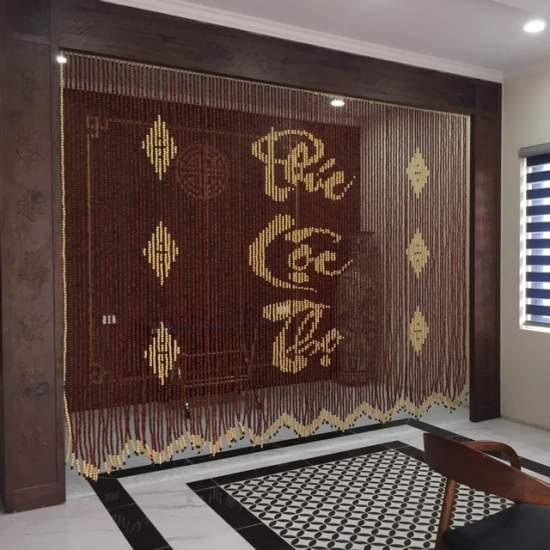rem hat go huong phuc loc tho - Rèm hạt gỗ hương chữ Phúc-Lộc-Thọ