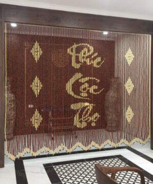 Rèm phòng thờ hạt gỗ Hương chữ Phúc - Lộc - Thọ