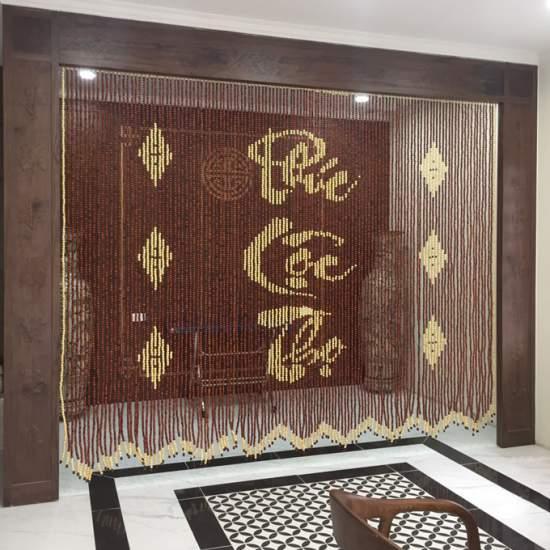 rem tho hat go huong - Rèm ban thờ hạt gỗ Hương D12 Hà Nội