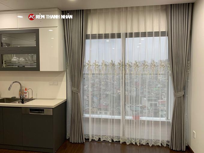 Rèm vải 2 lớp RV568-7 và rèm voan RV26-080 cho phòng khách chung cư tại quận Cầu Giấy