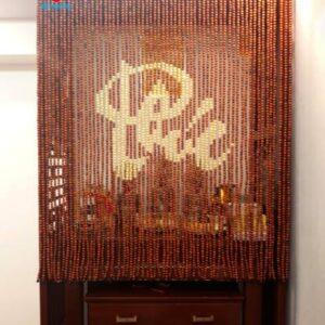 Rèm thờ hạt gỗ chữ PHÚC thư pháp