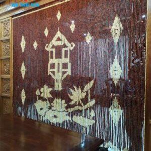 Rèm cửa hạt gỗ họa tiết Chùa Một Cột