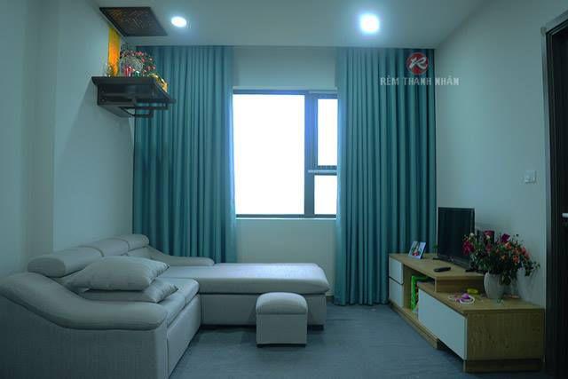 Rèm treo cửa sổ vải Gấm Bố màu xanh