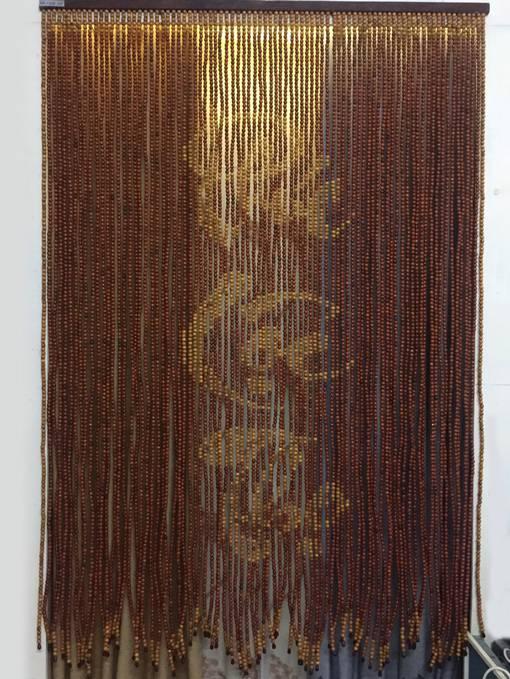 Rèm hạt gỗ Hương chữ Phúc - Lộc - Thọ