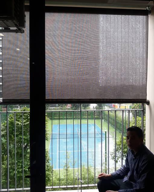 Rèm cuốn lưới hoa văn che nắng ngoài trời mã H-037