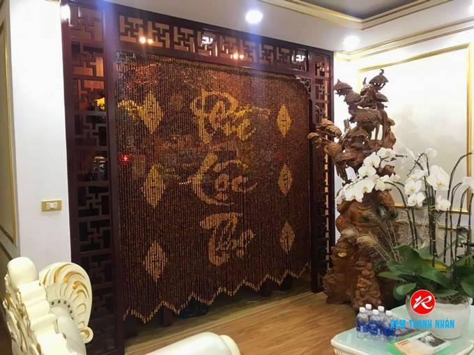 Rèm bàn thờ hạt gỗ Hương chữ Phúc Lộc Thọ