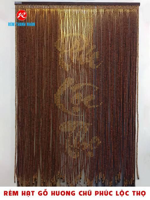 Rèm hạt gỗ Hương chữ Phúc Lộc Thọ