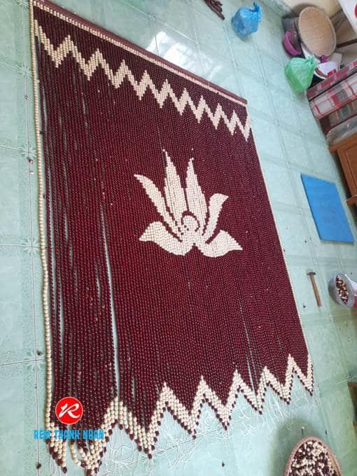 Rèm Bàn Thờ hạt gỗ Bồ Đề mẫu Hoa Sen