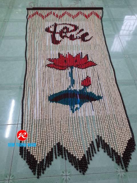 Rèm Thờ hạt gỗ Bồ Bề mẫu chữ Phúc - Hoa Sen