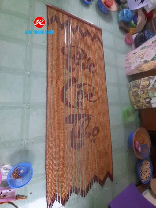 Rèm hạt gỗ Pơ Mu chữ Phúc Lộc Thọ
