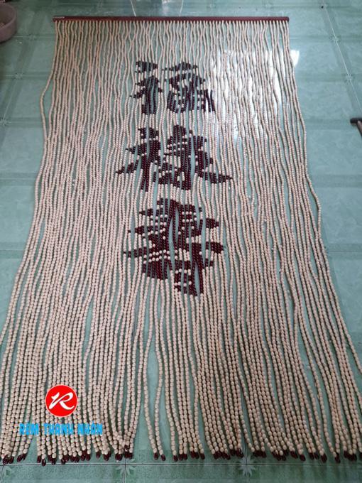 Rèm hạt gỗ Bồ Đề Chữ Phúc - Lộc - Thọ Nho